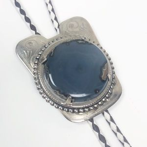 VINTAGE l Bolo Tie Silver Metal With Marbled Stone